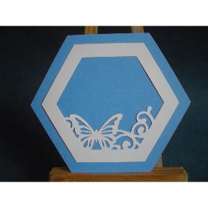 FAIRE PART HEXAGONAL PAPILLON