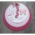 FAIRE PART ROND PAPILLON EN RELIEF
