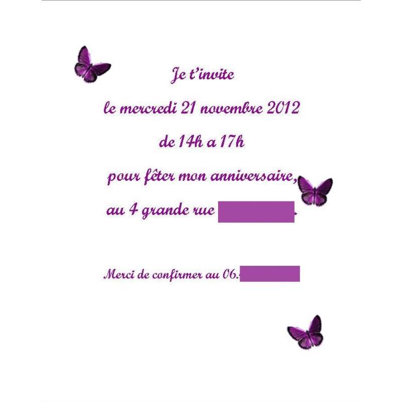 Extremement Invitation Anniversaire thème Papillon PK-04